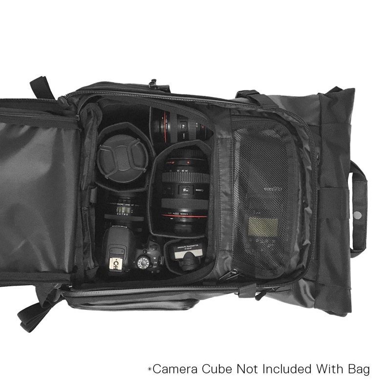 Wandrd Prvke Rolltop Backpack Optional camera inserts with side camera-access door make this a hot bag for camera users.
