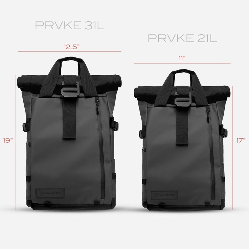 Wandrd Prvke Rolltop Backpack Available in two sizes. The big one is pretty damn big on smaller frames.