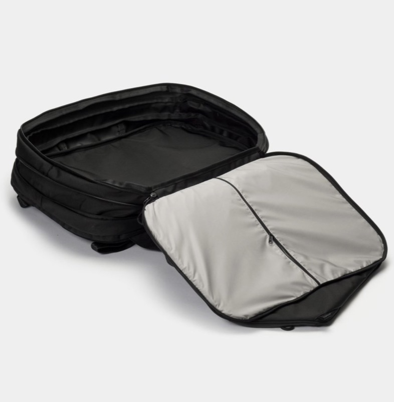 OpposeThis Invisible Carry-On Backpack Expandable back compartment reveals a surprisingly large area for travel packing.