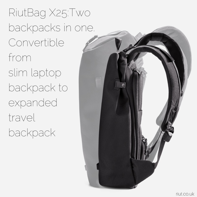 RiutBag X25 Convertible Security Backpack Expands out to a solid minimal travel backpack… shrinks to a great daily carry.