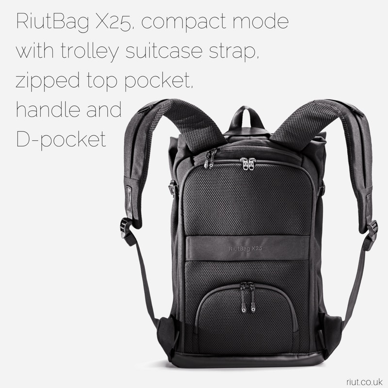 RiutBag X25 Convertible Security Backpack Zips are all on the back of the bag so you don't have to worry about pick pockets. Security!