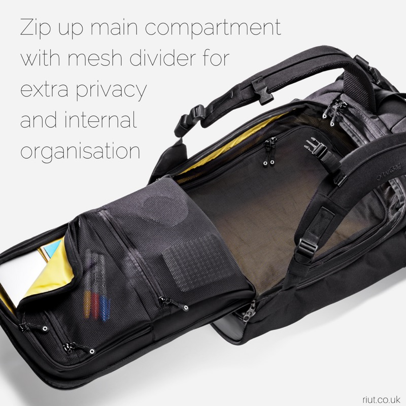 RiutBag X25 Convertible Security Backpack Solid organization inside the bag.