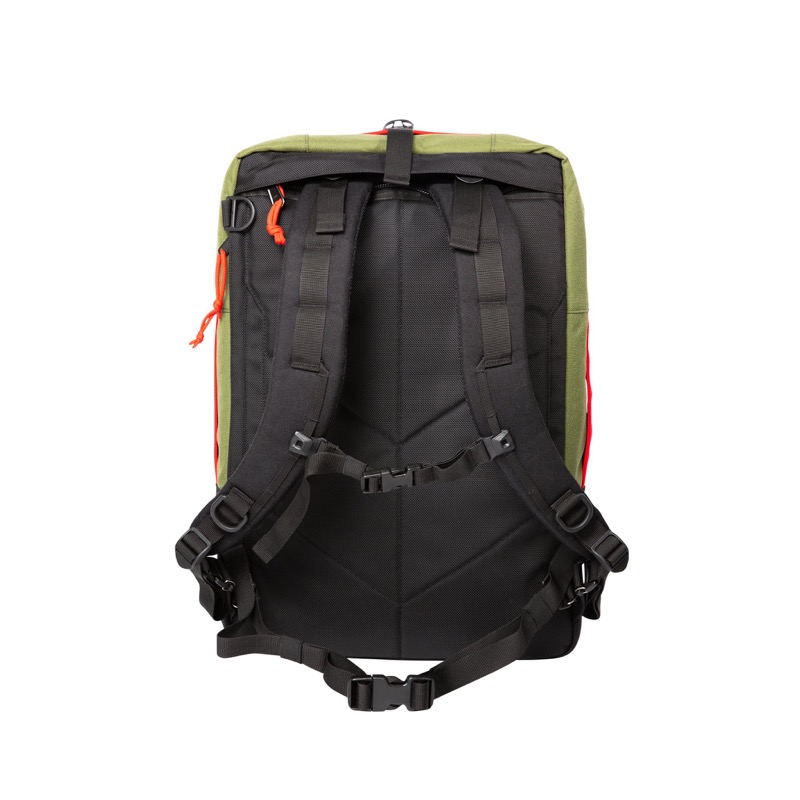 Topo Travel Bag (30 + 40L) Solid back panel. Doesn't have mesh on the back, tho, which is a deal breaker for some.