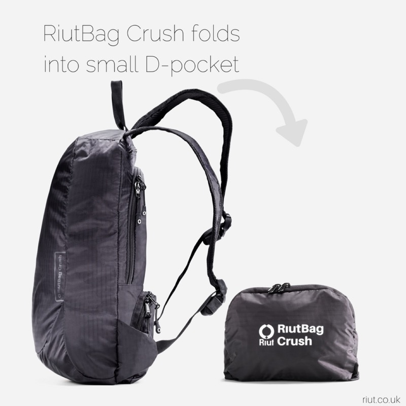 RiutBag Crush Packable Daypack All the zips are up against your back for security from pick-pockets.